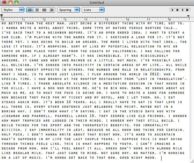 Frank Ocean написал послание своим фанатам
