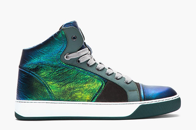 Кроссовки Green and Blue Mid-Top Leather от Lanvin