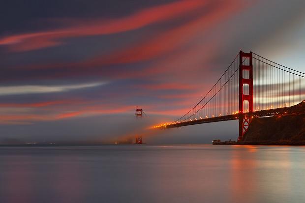 мост на красном закате бесплатно