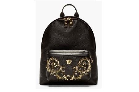 Рюкзак Versace Black Grain Leather Multiple Gold Stud