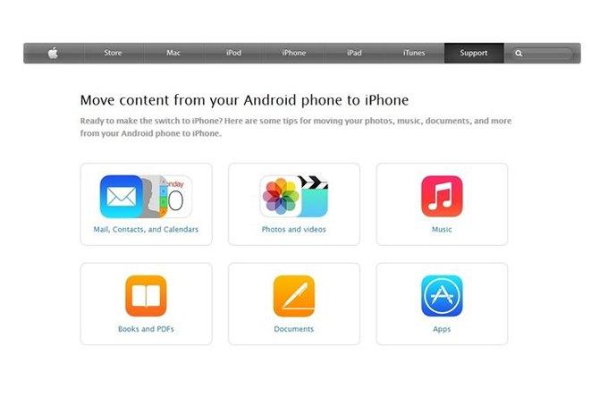 Apple написала инструкцию для перехода с Android на iPhone