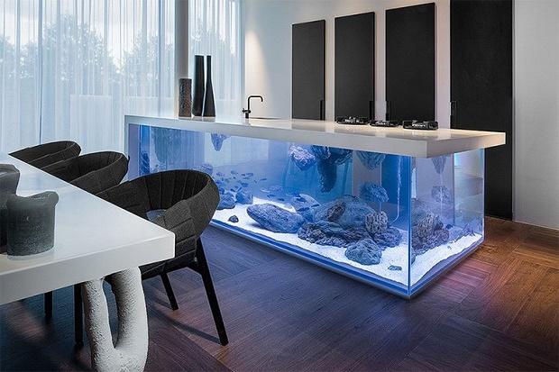 Огромный аквариум вместо обычного стола