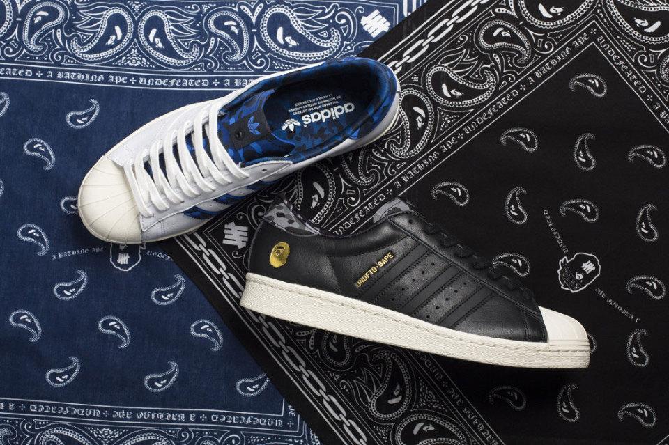 кроссовки Bape X Undefeated X Adidas Originals Superstar 80s Perou