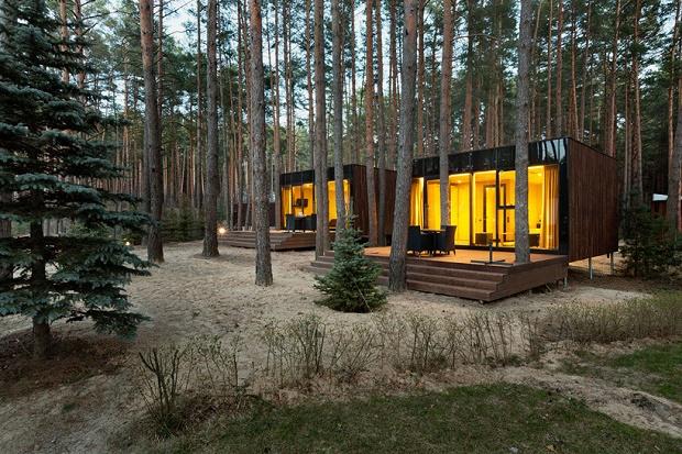 Деревянные коттеджи в украинском лесу от YOD Design Lab