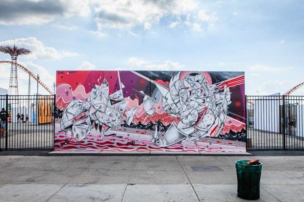 Ben Eine, Shepard Fairey, How and Nosm, Daze и CRASH разрисовали стены Art Walls в Кони-Айленде
