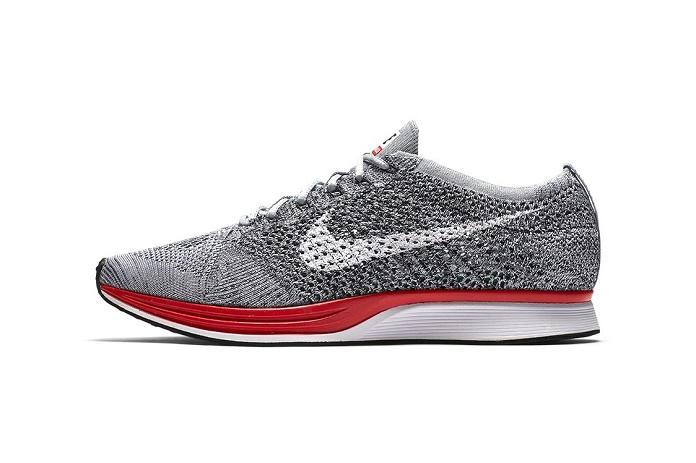 """Кроссовки Nike Flyknit Racer в новой расцветке """"Wolf Grey/Red"""""""