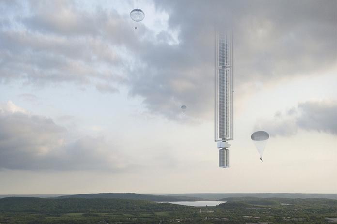Архитекторы спроектировали парящий над землёй небоскрёб